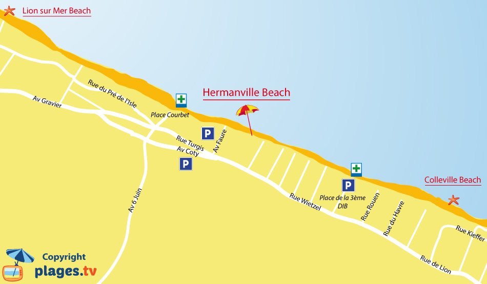 Map of Hermanville sur Mer beaches in Normandy