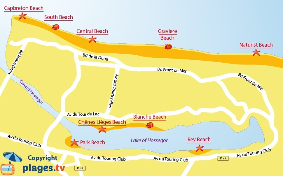 Map of Hossegor Beaches in France