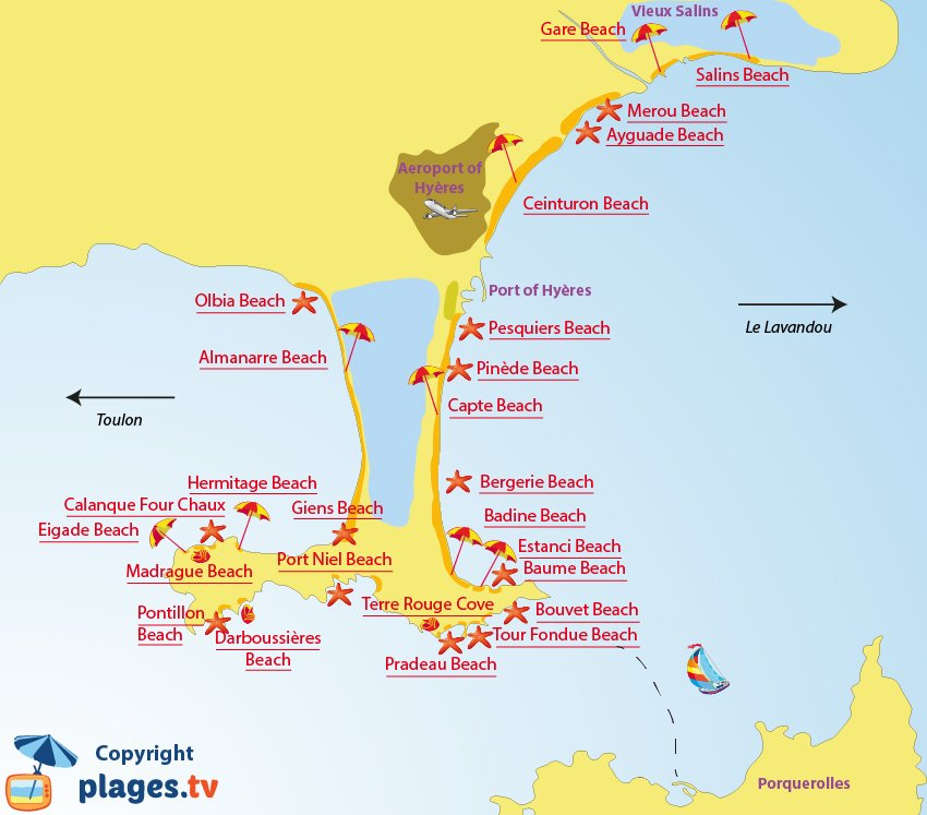 Map of Hyeres beaches in France