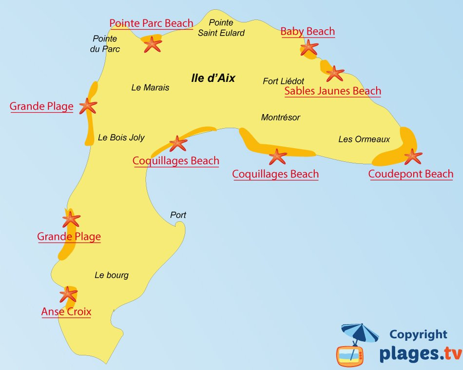 Map of Aix island beaches in France