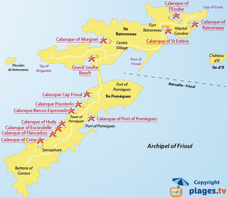 Map of Frioul beaches and calanque - Marseille - France