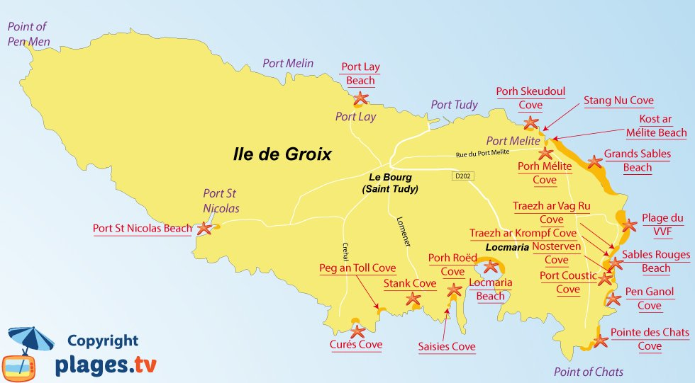 Map of Island of Groix beaches in Brittany in France
