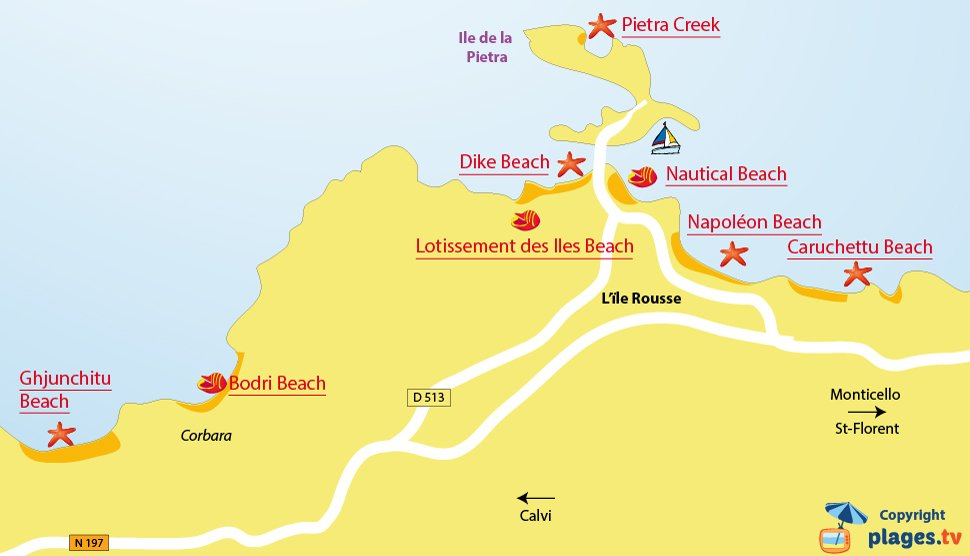 Map of Ile Rousse beach in Corsica