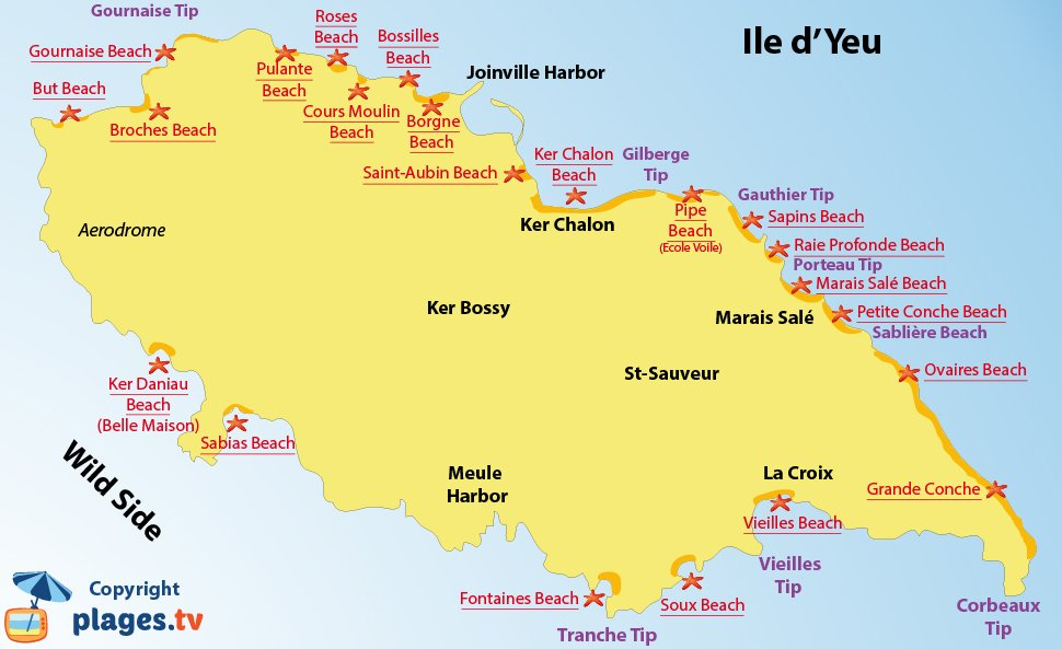 Map of Ile d'Yeu beaches in France