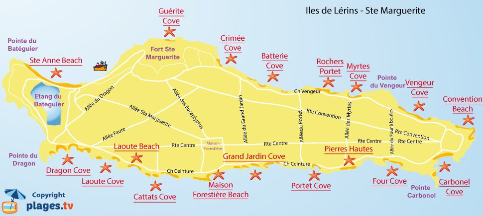 Map of Lerins beaches in France - Sainte Marguerite