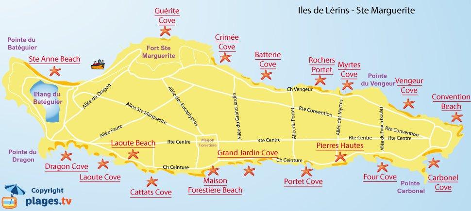 Map of Lerins beaches in France - Sainte Marguerite