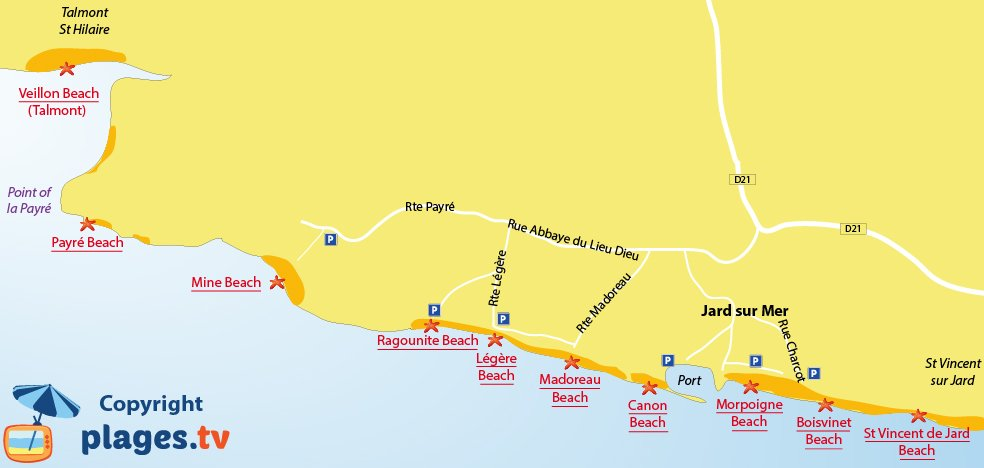 Map of Jard sur Mer beaches in France