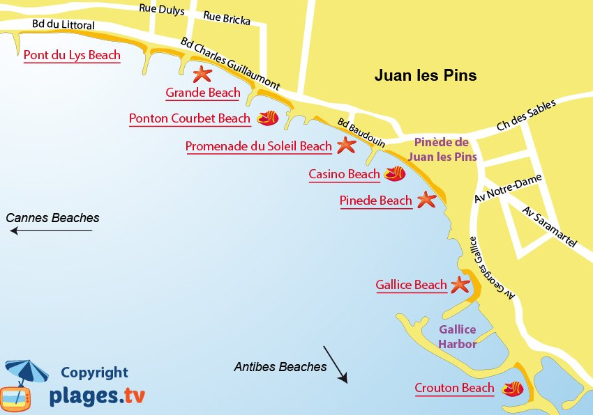 Map of beaches in Juan les Pins in France