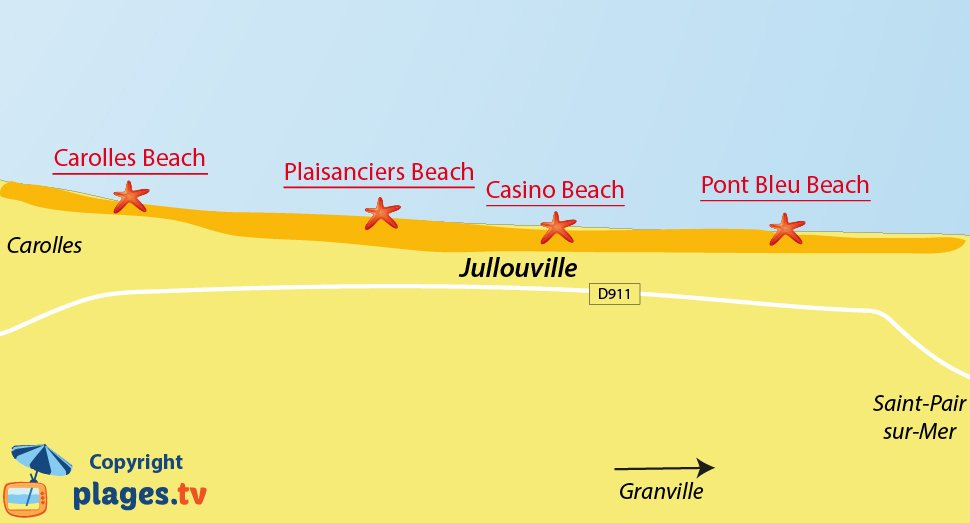 Map of Jullouville beaches in France