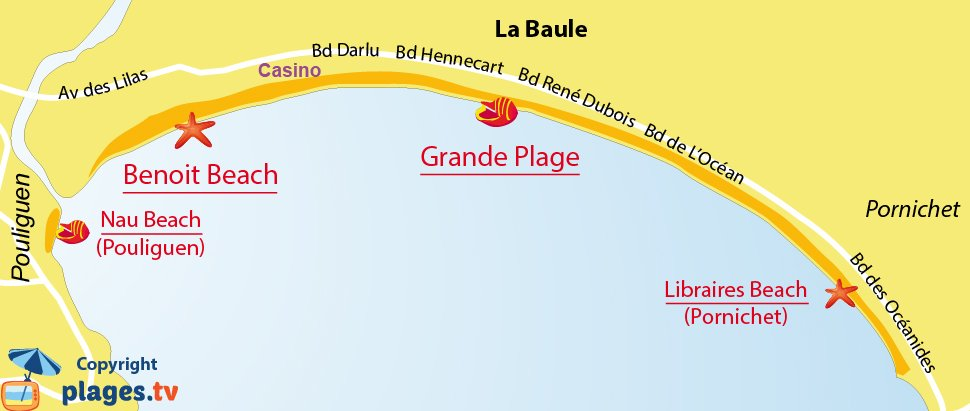 Map of La Baule beaches in France