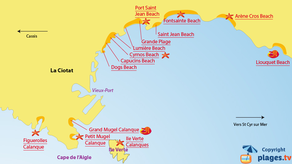 Map of the La Ciotat beaches in France