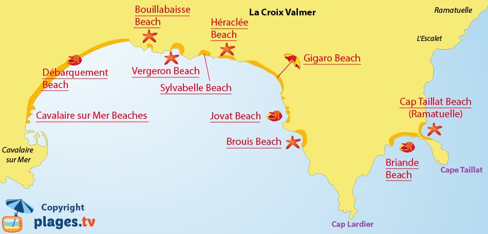 Map of the Croix Valmer beaches in France