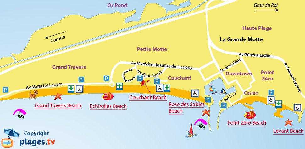 Map of the Grande Motte beaches in France