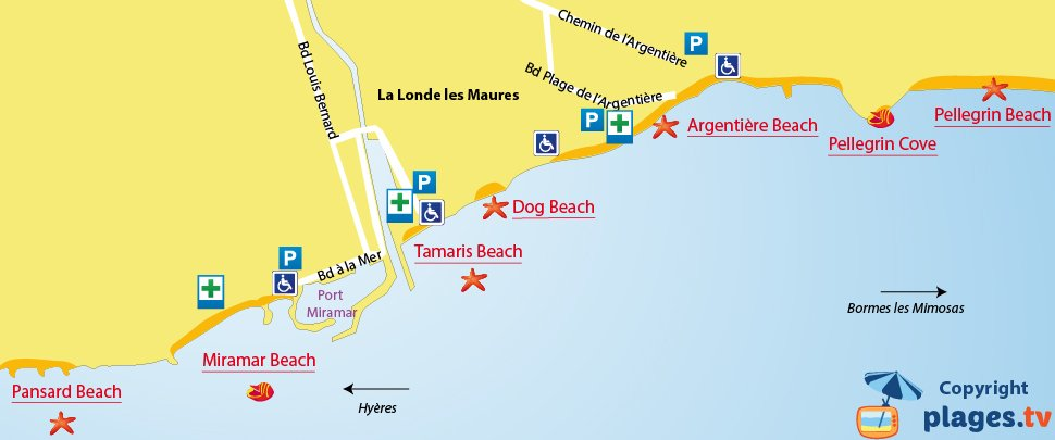Map of La Londe les Maures beaches in France