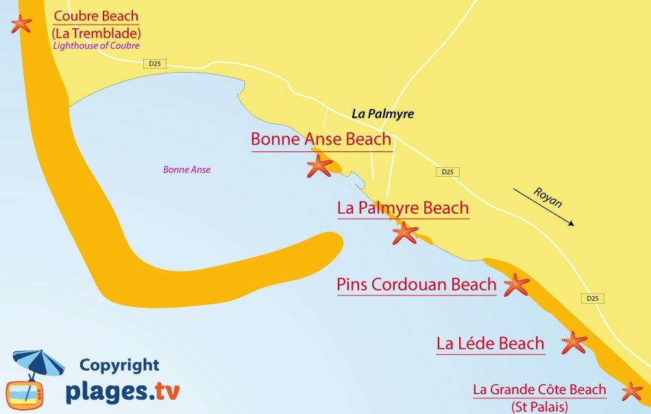 Map of La Palmyre beaches in France
