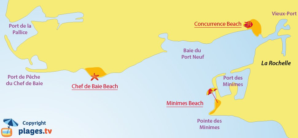 Map of La Rochelle beaches in France
