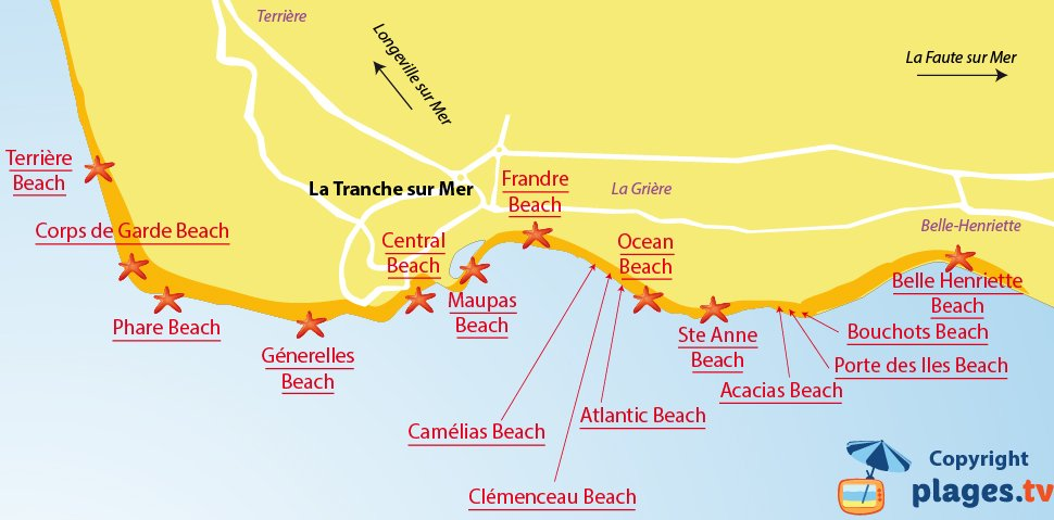 Map of La Tranche sur Mer beaches in France