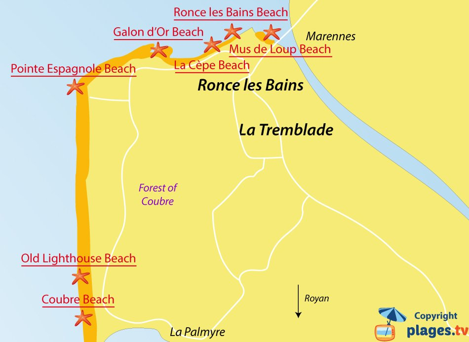 Map of La Tremblade beaches in France