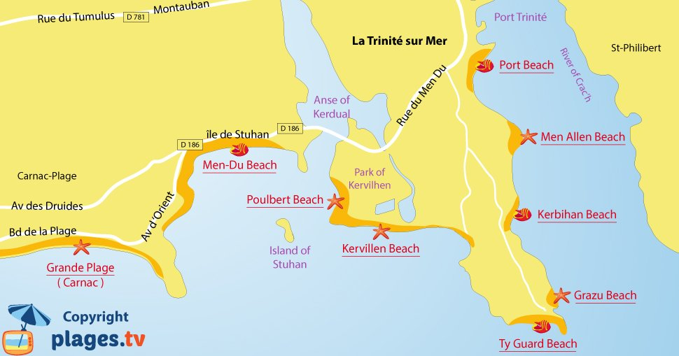 Map of La Trinité sur Mer beaches in France in Brittany