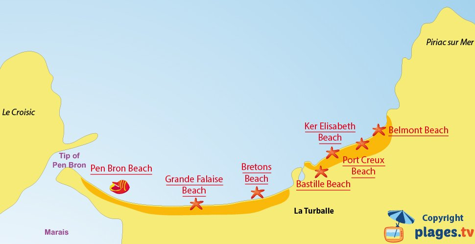 Map of La Turballe beaches in France