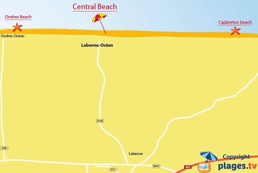 Map of Labenne beaches in France