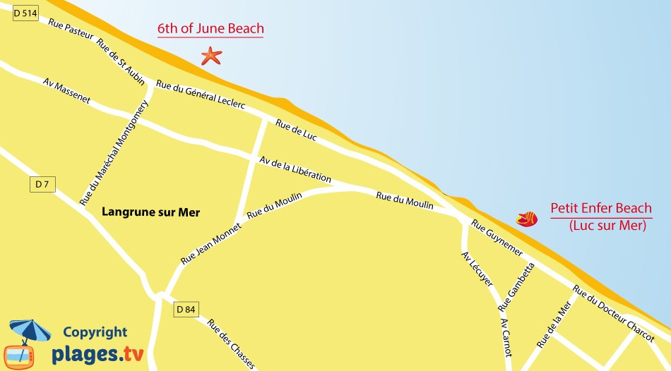 Map of Langrune sur Mer beaches in Normandy