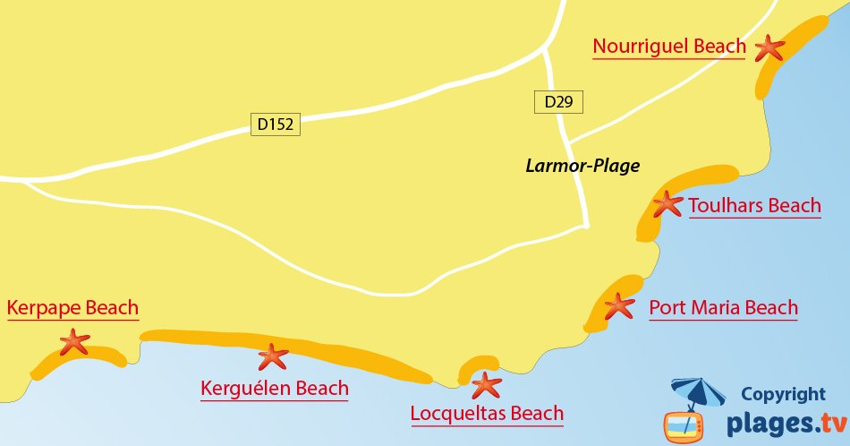 Map of Larmor-Plage beaches in Brittany in France
