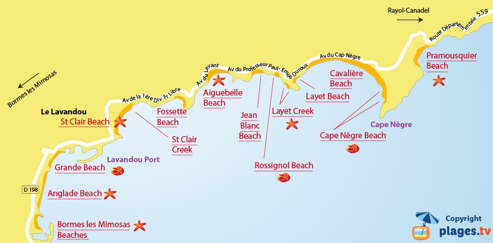 Map of the Lavandou beaches in France