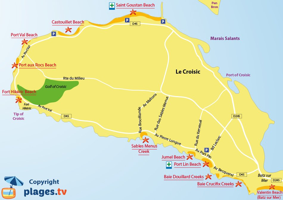 Map of Le Croisic beaches in France