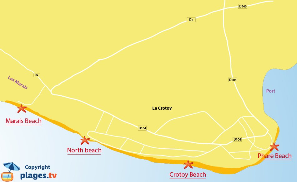 Map of the beaches in Le Crotoy