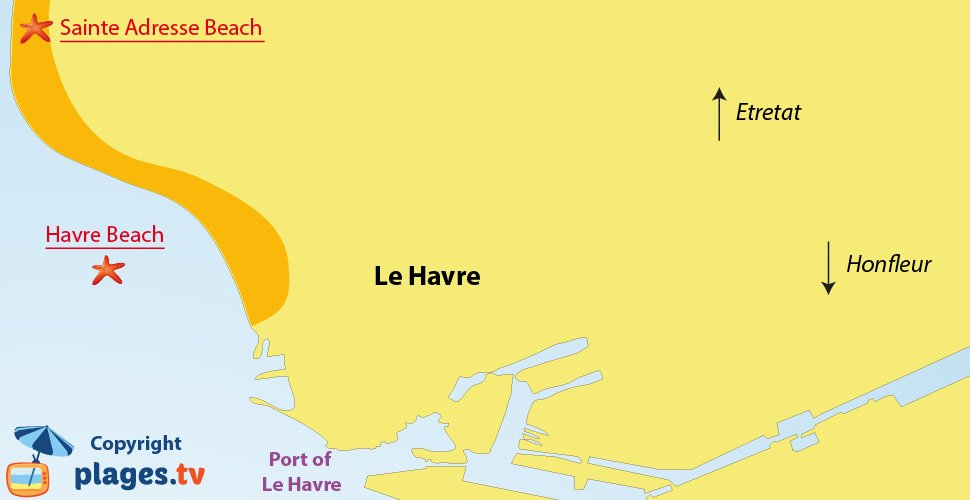 Map of Le Havre beaches in France