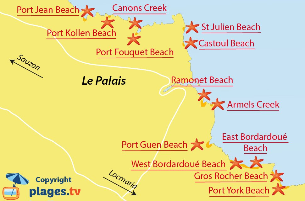 Map of Le Palais beaches in Belle Ile en Mer - France