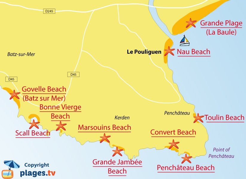 Map of Le Pouliguen beaches in France