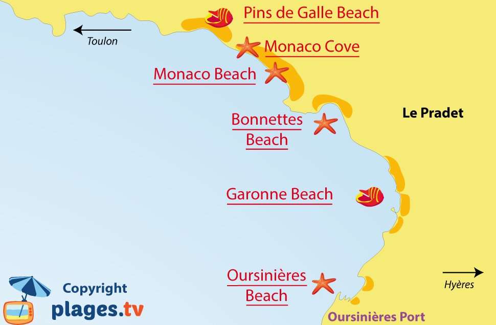 Map of Le Pradet beaches in France