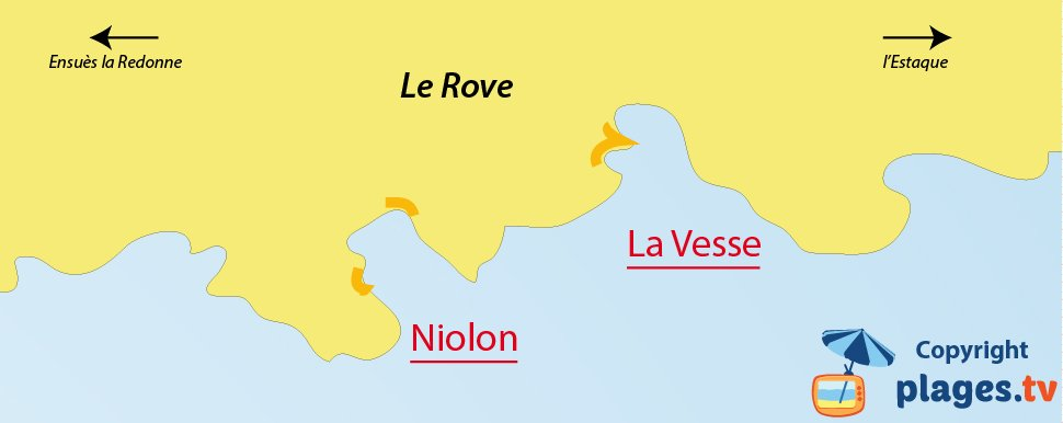 Map of the beaches in Le Rove in France