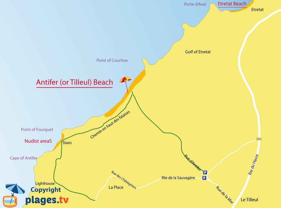 Map of Le Tilleul beaches in Normandy - France