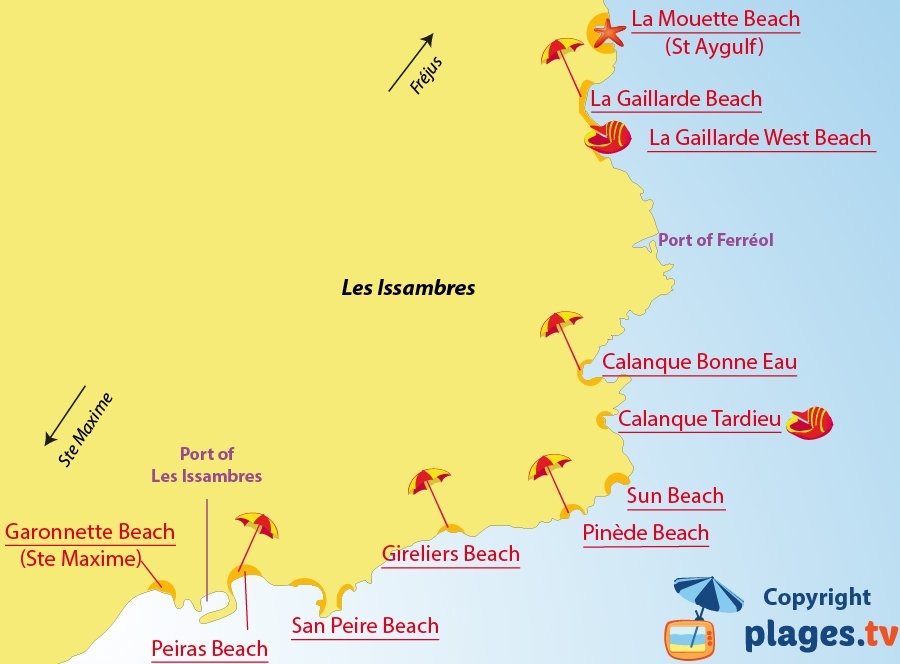 Map of Les Issambres beaches in France