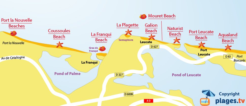 Map of Leucate beaches in France