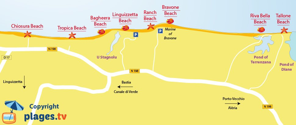 Map of Linguizzetta beaches in Corsica