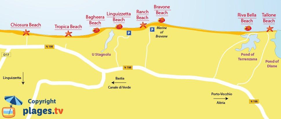 Map of Linguizzetta beaches in Corsica