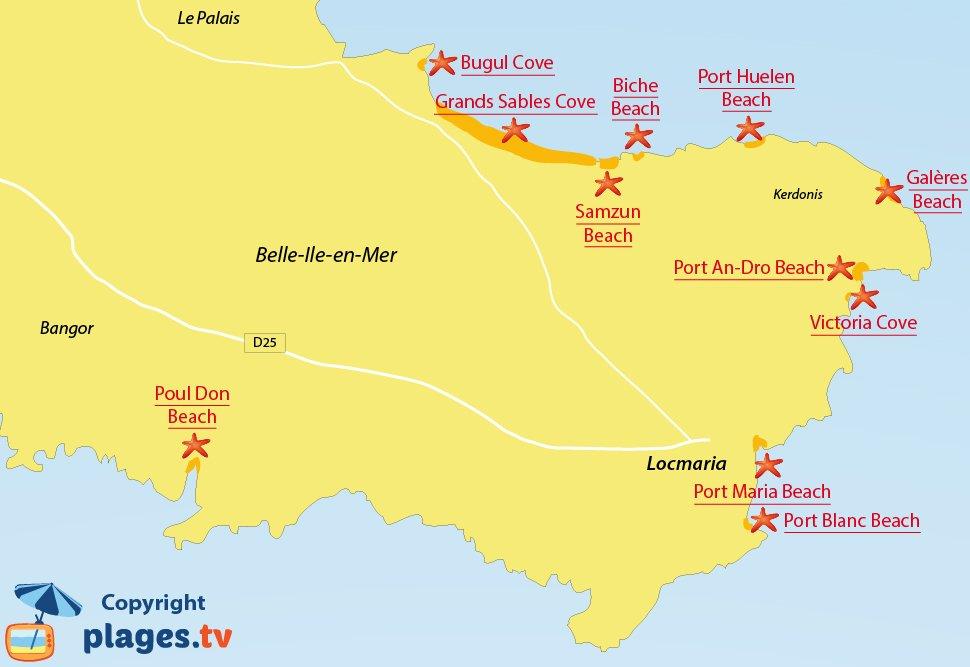 Map of Locmaria beaches in Belle-Ile-en-Mer in France