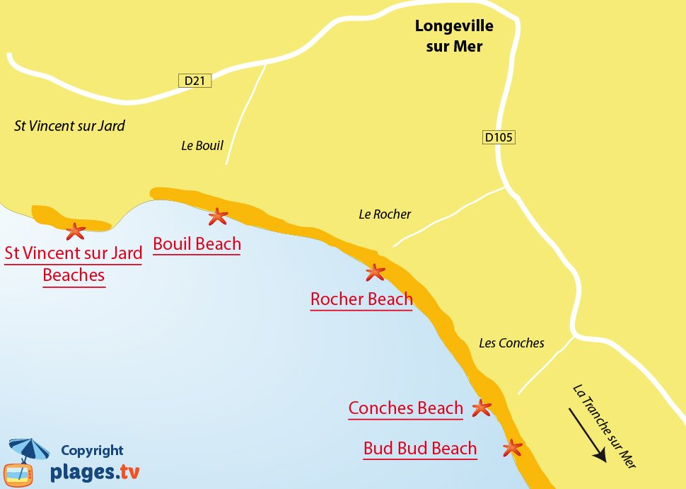Map of Longeville sur Mer beaches in France - Vendee