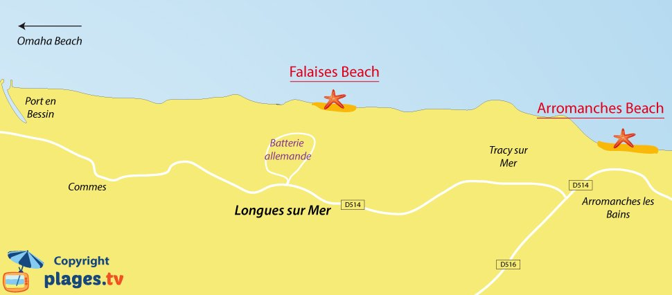 Map of Longues sur Mer beaches in Normandy - France