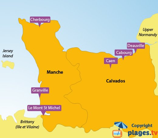 Map of the seaside resorts and beaches in Lower Normandy - France
