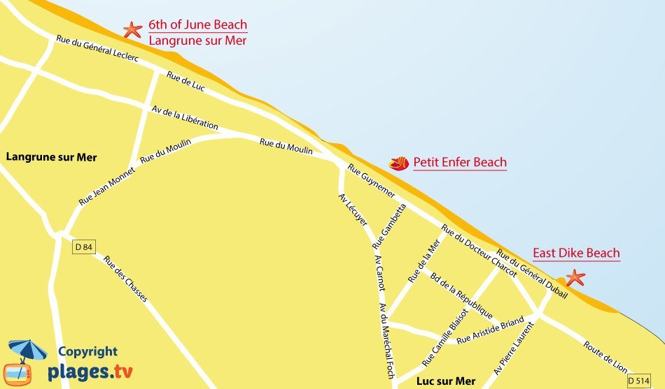 Map of Luc-sur-Mer beaches in Normandy - France