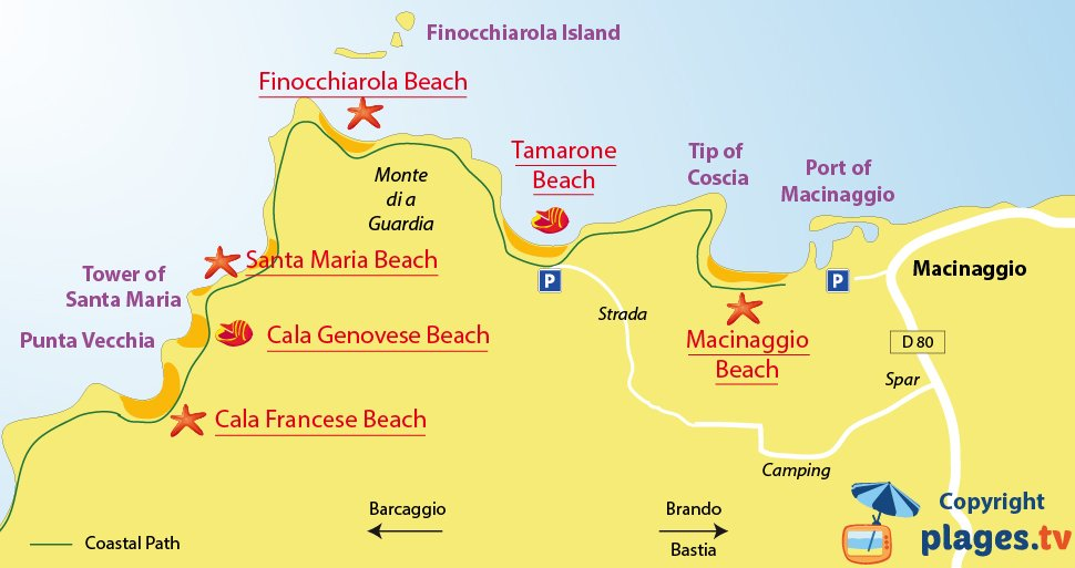 Map of Macinaggio beaches in Corsica