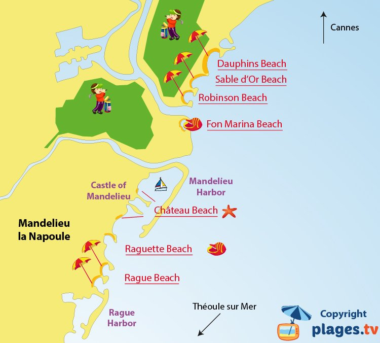 Map of Mandelieu-la-Napoule beaches in France