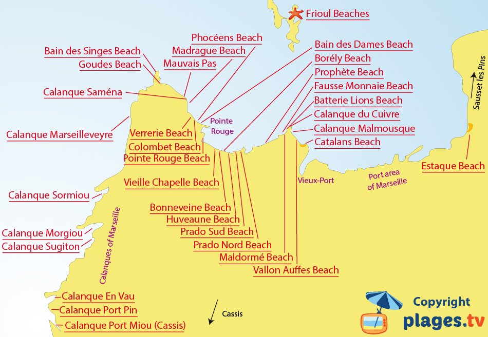 Map of beaches and calanques of Marseille - France