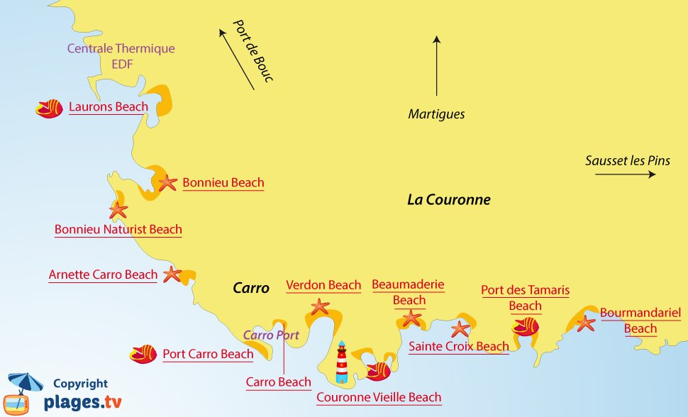 Map of Martigues beaches - La Couronne - France