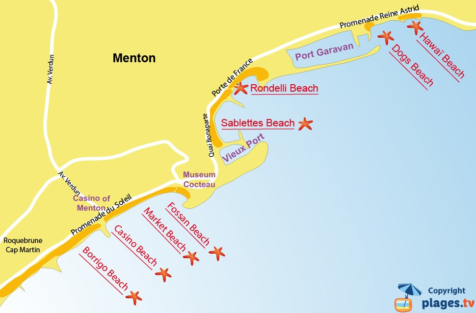 Map of the beaches of Menton